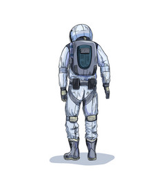 astronaut in space suit back view full color vector image