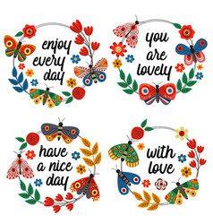 basic rgbset isolated frames with butterflies vector image