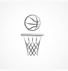 Basketball doodle icon vector