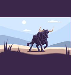 bull with big horns vector image