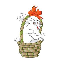 bunny in a basket vector image