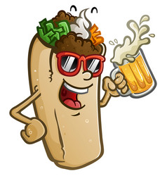 burrito cartoon drinking a cold mug beer vector image