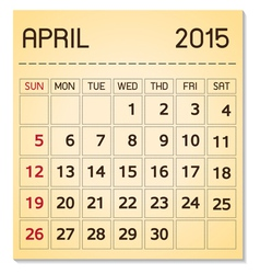 calendar 2015 04 April vector image