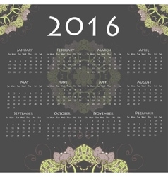 Calendar with round mandala for 2016 on grey vector