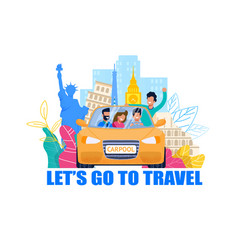 carpool for travel happy tourist car vector image