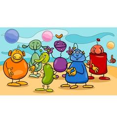Cartoon fantasy characters group vector
