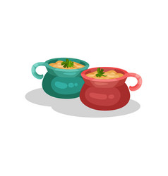 Ceramic pots of onion soup delicious dish of vector