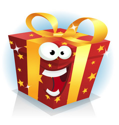 christmas and birthday gift box character vector image