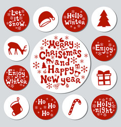 christmas new year gift round stickers labels vector image