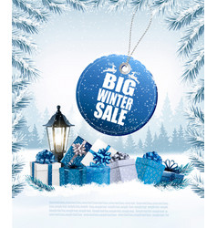 christmas presents with a sale sticker and a gift vector image