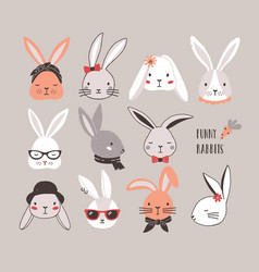 collection funny bunnies set cute rabbits vector image