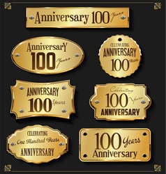 Collection of anniversary retro gold labels 100 vector