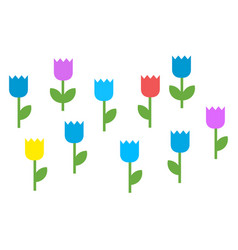 colorful blooming flowers icon flat isolated vector image