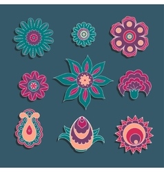 Colorful ornament elements set of flowers and bud vector image