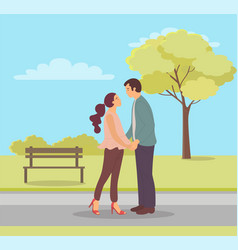 couple in love spring park relaxation date vector image