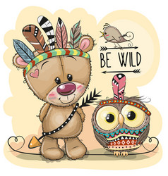 Cute tribal teddy bear and owl with feathers vector