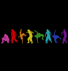 Dancing street dance silhouettes in urban style vector