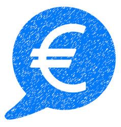 Euro message balloon icon grunge watermark vector