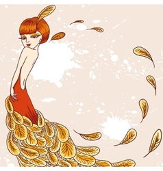 Flapper girl in a dress feathers vector