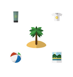 Flat beach set of clothes reminders sphere and vector