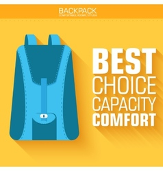 Flat schoolbag on the background with the slogan vector