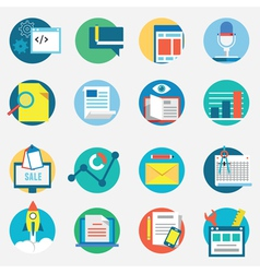Flat set of modern icons and symbols of business vector image