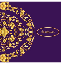 Floral decorated invitation card with antique vector