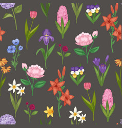 Floral seamless pattern with field and garden vector