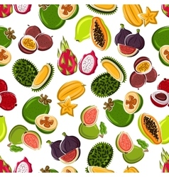 Fresh tropical fruits seamless pattern vector image