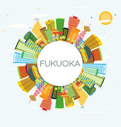 Fukuoka skyline with color buildings blue sky and vector