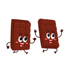 funny chocolate bar characters one chasing vector image