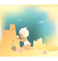 Girl building sandcastle vector