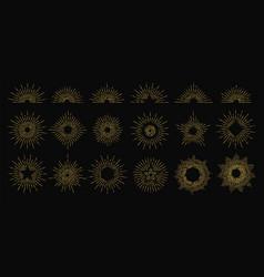 golden sunburst radiant rays icons vector image