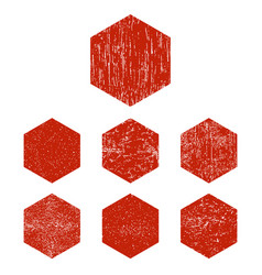 grunge hexagon red hexagons stamp isolated vector image