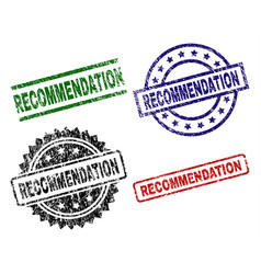 Grunge textured recommendation seal stamps vector