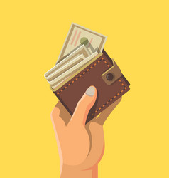 hand and wallet full money vector image