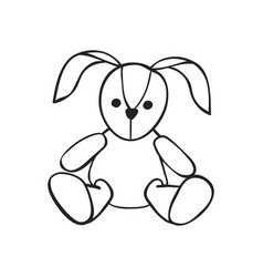 hand drawn icon of soft toy rabbit vector image