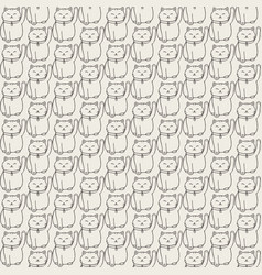 hand drawn seamless pattern with japanese cat vector image