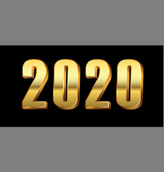 happy new year background gold 3d number 2020 vector image