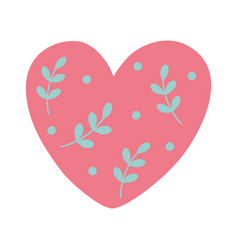 happy valentines day cute heart love with leaves vector image