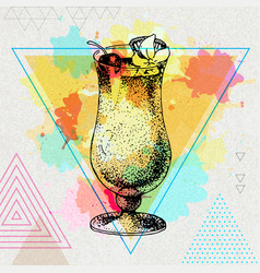 Hipster cocktail pina colada vector