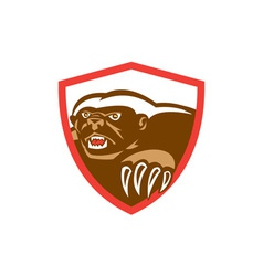 Honey Badger Claws Side Shield Retro vector image
