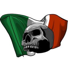 human skull with italian flag vector image