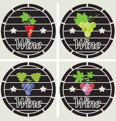 icons of wooden casks with wine grape clusters vector image