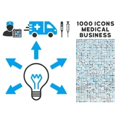 Idea Icon with 1000 Medical Business Symbols vector image