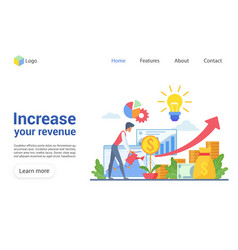 Increase your revenue landing page template vector