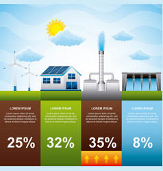 Infographic alternative power sources energy vector