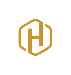 initial h hexagon logo vector image