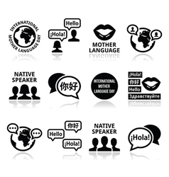 International Mother Language Day icons set vector
