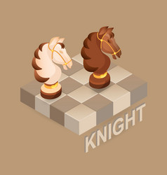 Isometric cartoon chess pieces knight fla vector
